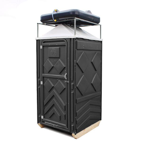 Теплый летний душ для дачи черный 003-белый