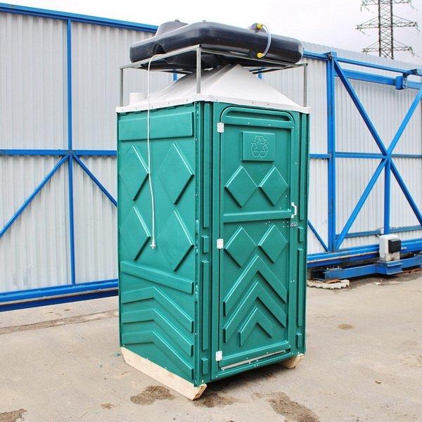 Теплый летний душ для дачи зеленый 001
